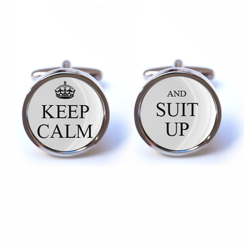Keep Calm and Suit Up Cufflinks