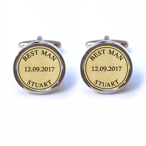 Best Man Cufflinks with Custom Name and Date