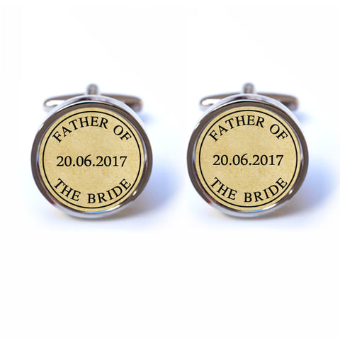 Father of the Bride Cufflinks with Custom Date