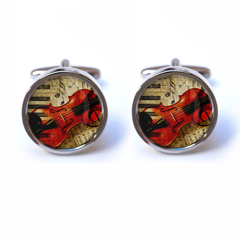 Violin on Music Background Cufflinks