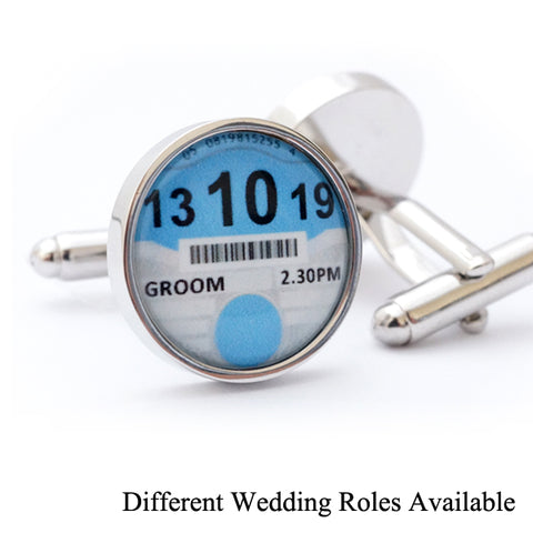Personalised Wedding Car Tax Disc Cufflinks