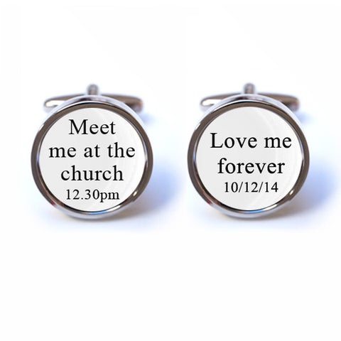 Personalised Meet me at the church, Love me forever Cufflinks