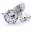Personalised Wedding Coordinates Cufflinks