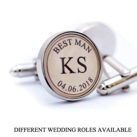 Custom Initials and Wedding Date Cufflinks
