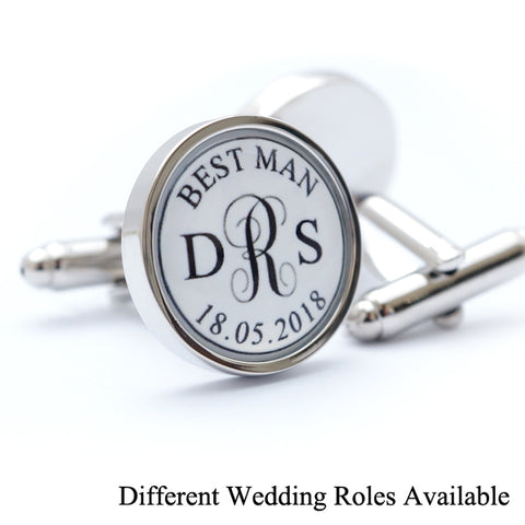 Personalised Wedding Monogram Cufflinks - Different Roles Available