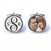 Wedding Monogram Cufflinks with Custom Photo