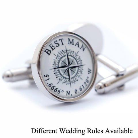 Custom Wedding Coordinates Cufflinks - Different Wedding Roles