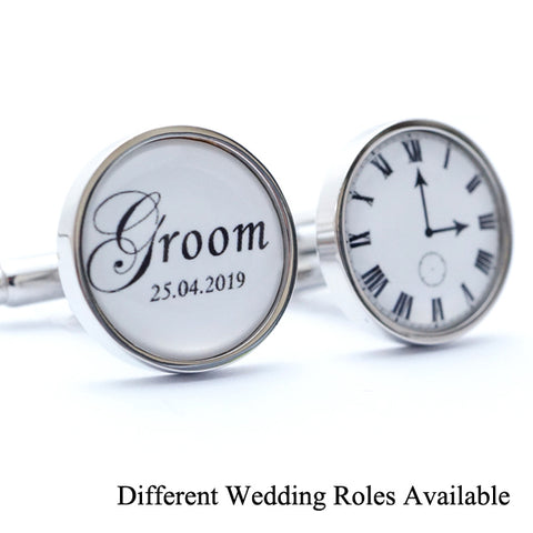 Wedding Cufflinks with Personalised Time