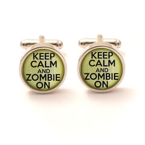 Keep Calm and Zombie On Cufflinks