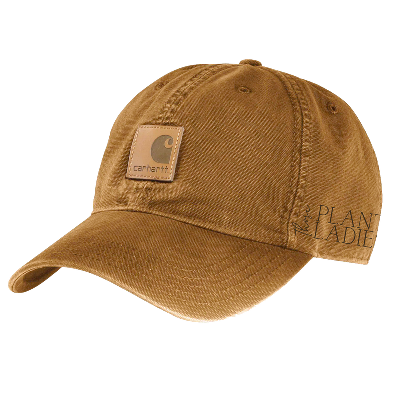 Brown carhartt cap with Those Plant Ladies logo embroidered on the left side; adjustable opening in back.