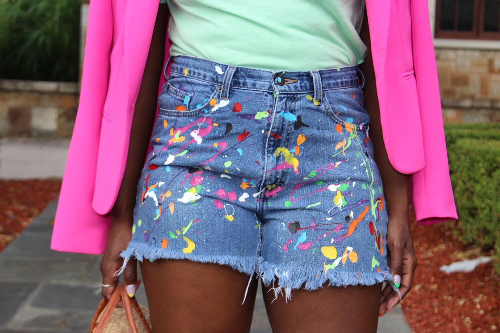 Denim Splatter Shorts