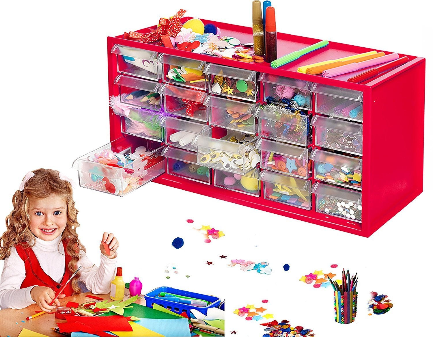 Arts Crafts Supply Center Complete With 20 Filled Drawers Of Craft