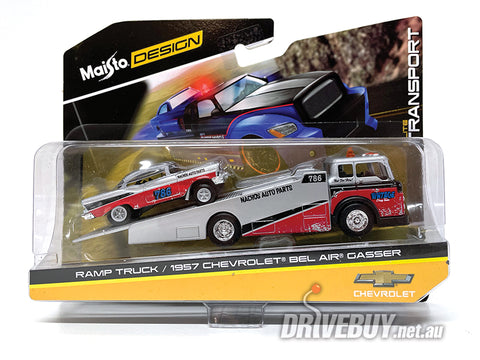 MAISTO RAMP TRUCK AND 1957 CHEVY GASSER 1/64