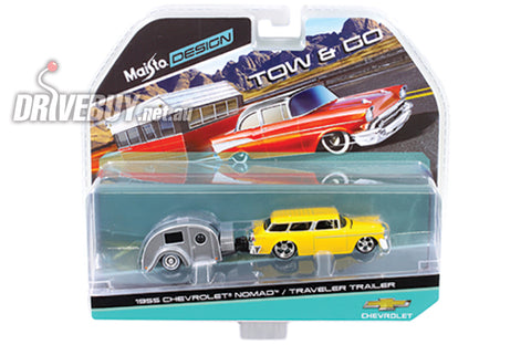 1955 CHEVY NOMAD AND TEARDROP TRAVEL TRAILER: MAISTO TOW & GO 1/64