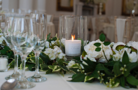 Scented candle at wedding