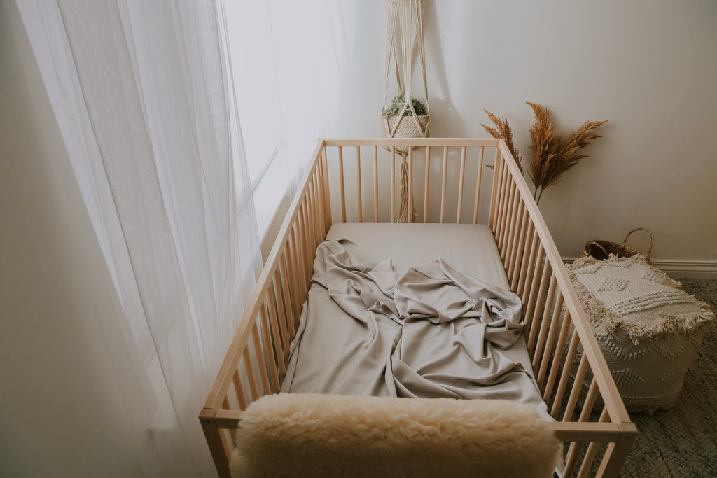 Organic Bamboo Cot Sheet - Light Grey