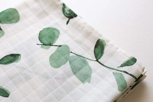Bamboo Cotton Swaddle - Green Eucalyptus