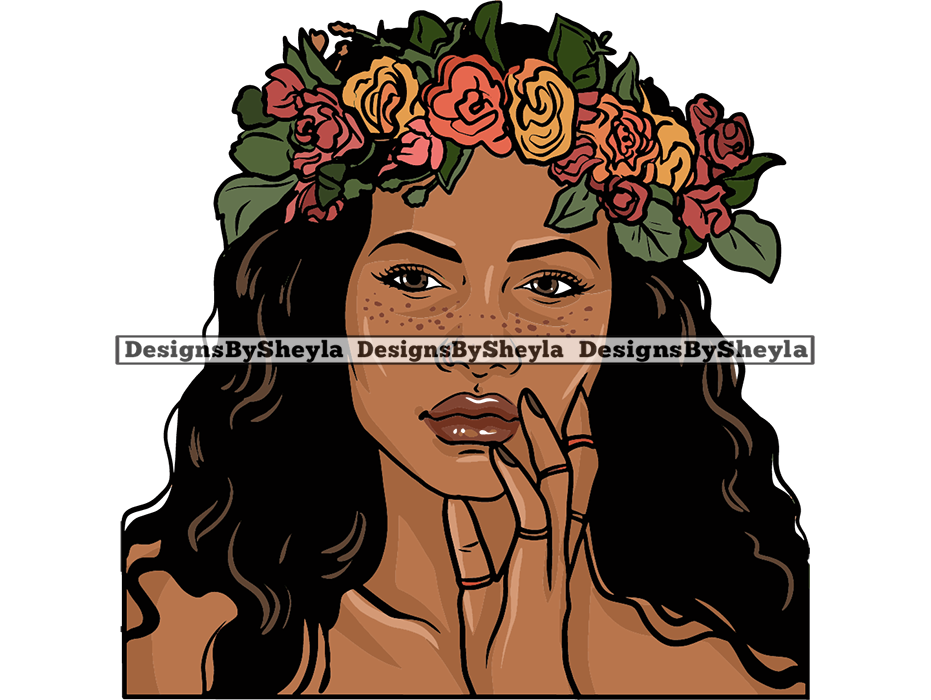 Natural Freckle Woman Flower Queen Melanin Beauty SVG PNG JPG For Cutting Silhouette Clipart Vector
