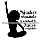 Injustice Anywhere is a Threat to Justice Everywhere Quote Clipart Vector