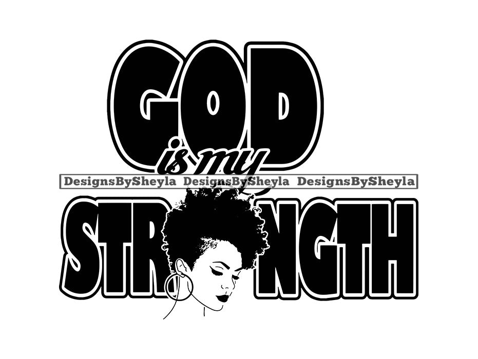 God is my Strength Woman Clipart Vector