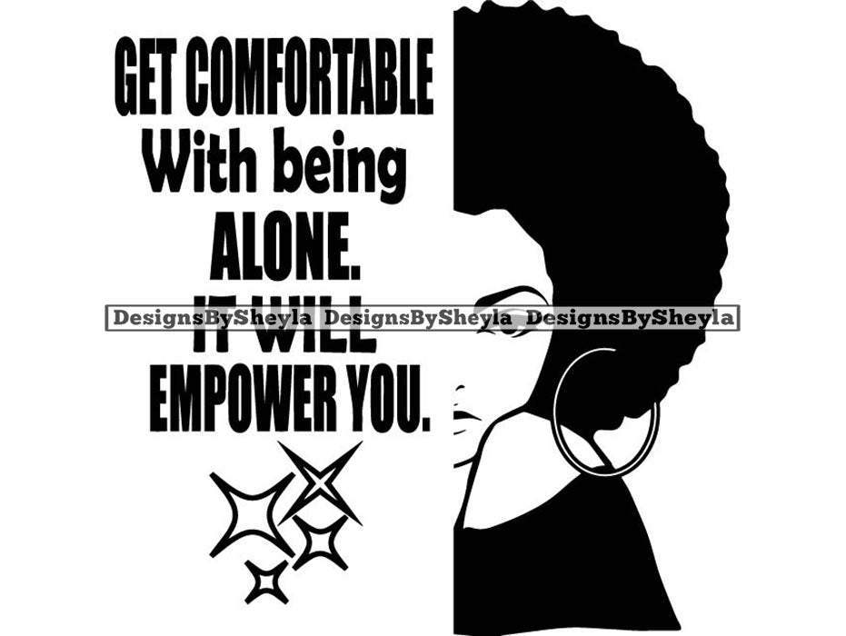 Get Comfortable With Being Alone Quote Clipart Vector