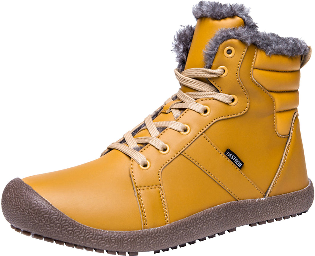 Outdoor Waterproof Ankle Winter Warm Fur Snow Boots for Women Men - Yellow