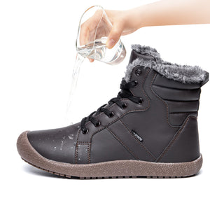 Outdoor Waterproof Ankle Winter Warm Fur Snow Boots for Women Men - Brown