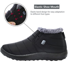 Load image into Gallery viewer, Womens and Men Snow Boots Waterproof Ankle Anti-Skid Winter Fur Booties for Couple Grey 9.5 Women/8 Men
