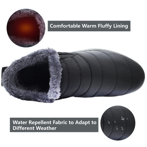 Womens and Men Snow Boots Waterproof Ankle Anti-Skid Winter Fur Booties for Couple Grey 10.5 Women/9 Men