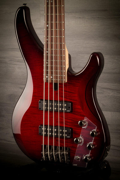 Yamaha TRBX605FM 5 String Bass - Dark Red Burst - MusicStreet