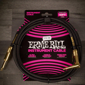 Guitar Cable - Ernie Ball Angled Guitar Cable Black - 10 Ft
