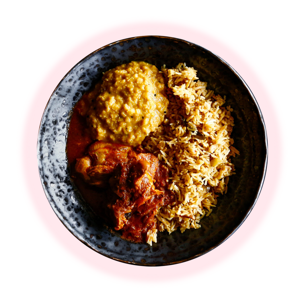 Spiced & Cashew Rice, Chicken Curry, Lentils (gf)
