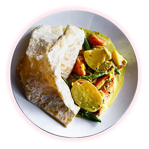 Roti Bread, Mixed Vegetable Curry