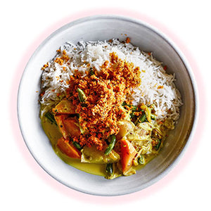 Rice, Mixed Coconut Vegetable Curry, Coconut Sambol