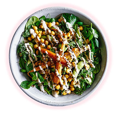 Green Salad, Seeds & Grains, Heirloom Carrots, Chickpea Fry, Edamame, Tahini & Garlic Dressing
