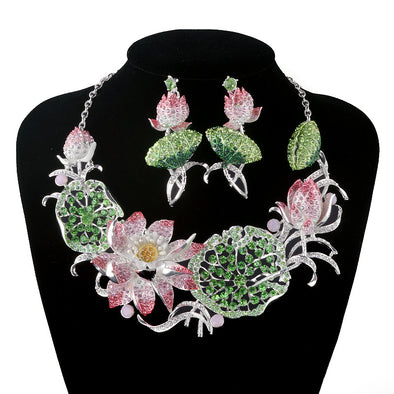 Flower Crystal Statement Necklace Set
