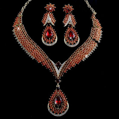 Red Water Drop Crystal Necklace Set