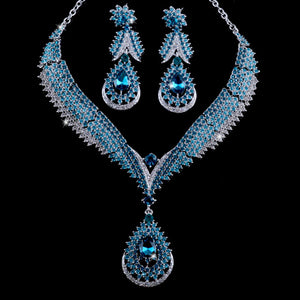 Teal Blue Water Drop Crystal Necklace Set