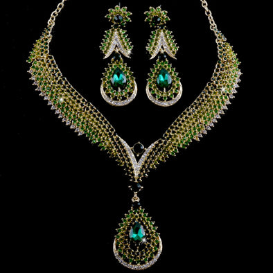 Green Water Drop Crystal Necklace Set