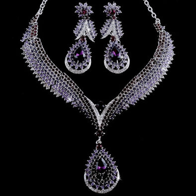 Purple Water Drop Crystal Necklace Set