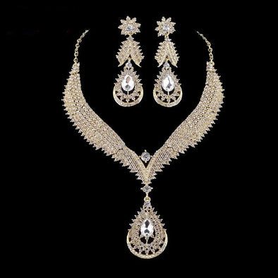 Gold Water Drop Crystal Necklace Earrings Set