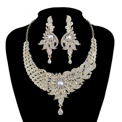 Gold Clear Statement Crystal Necklace Set