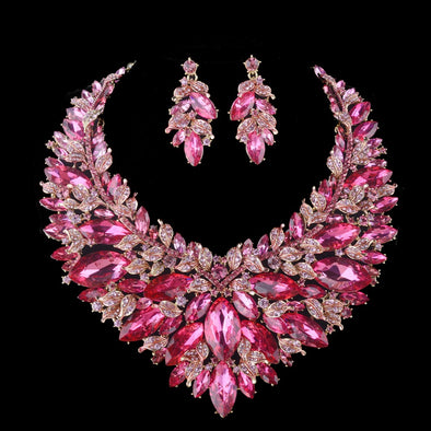 Pink Marquise Statement Necklace Set