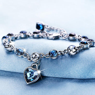 Crystal Heart Charm Bracelet - 17 Colors