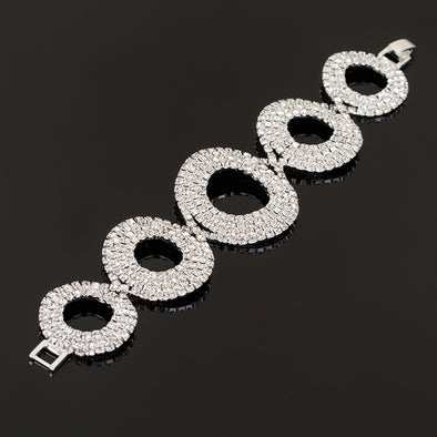 Circle Crystal Rhinestone Bracelet - Silver or Gold