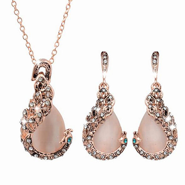 Waterdrop Rhinestone Necklace Set