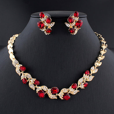 Floral Crystal Necklace Set (3 Colors)