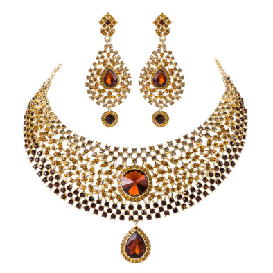 Brown Crystal Rhinestone Necklace Set