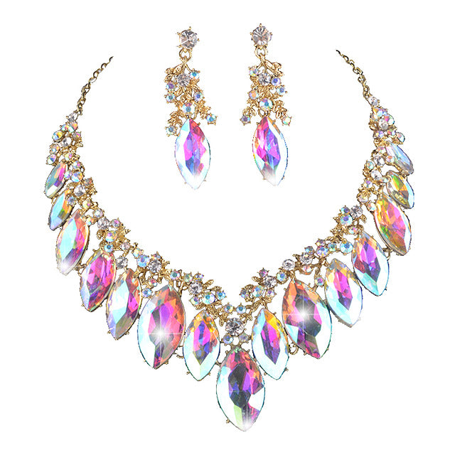 Marquise Crystal Necklace Set