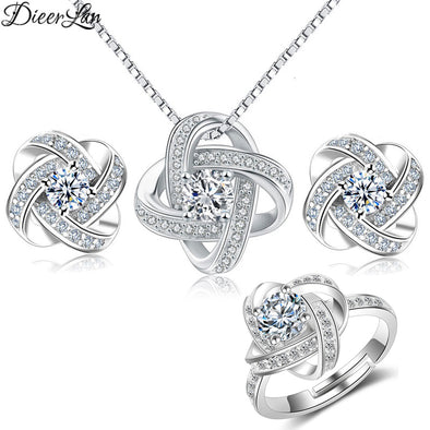 925 Sterling Silver Floral Necklace Earring & Ring Set